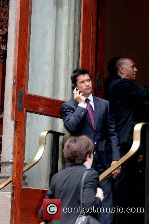 Mark Consuelos attends the funeral of Claudia Cohen...