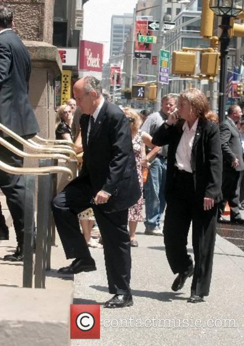 Rudy Giuliani arrives at the funeral of Claudia...