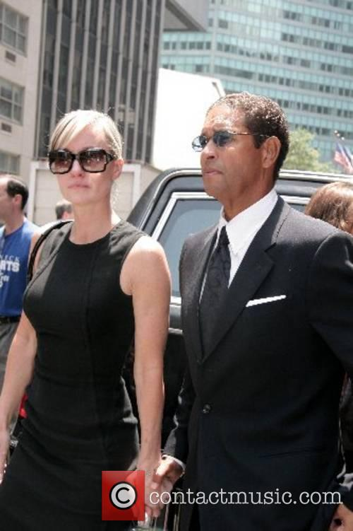 Bryant Gumbel, his wife Hilary Quinlan depart the...