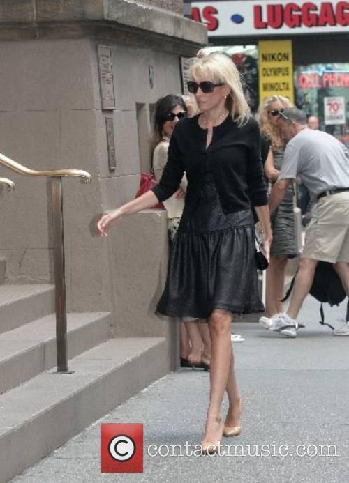 Pamela Gross Finkelstein arrives at the funeral of...