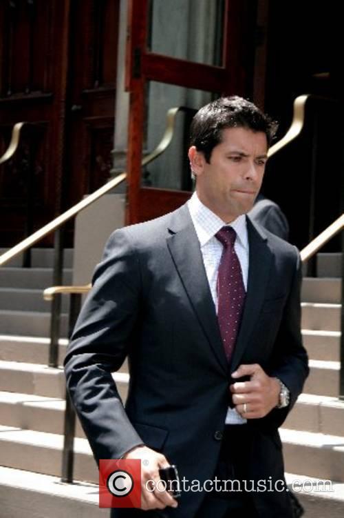 Mark Consuelos departs the funeral of Claudia Cohen...