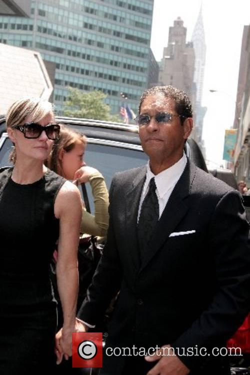 Bryant Gumbel and his wife Hilary Quinlan depart...