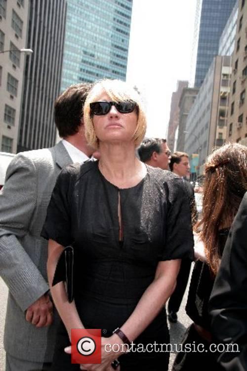 Ellen Barkin and guests depart the funeral of...