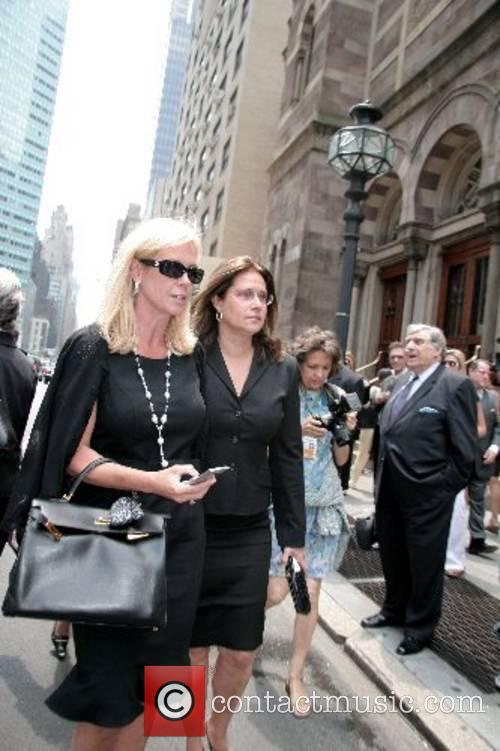 Lorraine Bracco and guests depart the funeral of...