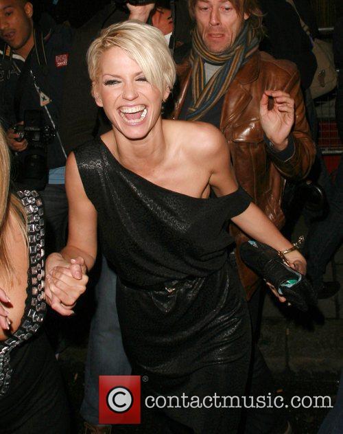 Sarah Harding laughing outside Funky Buddha nightclub. London,...