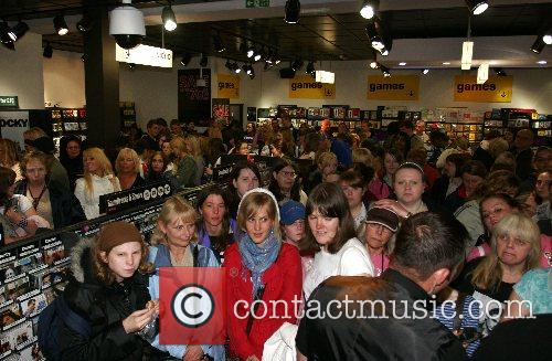 Gareth Gates performing at the HMV store in...