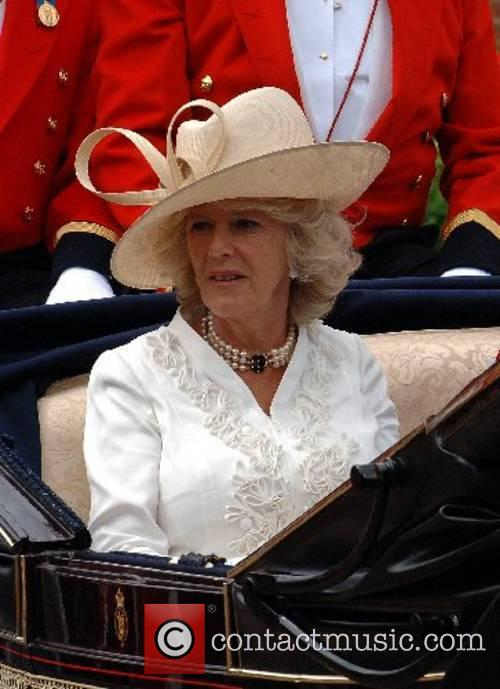 Camilla, Duchess of Cornwall leaves in an open...