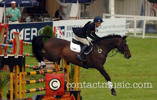 Zara Phillips rides in the showjumping phase on...