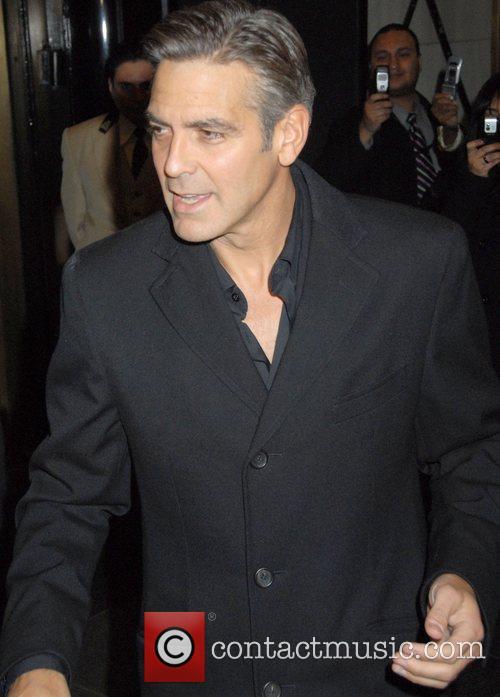 George Clooney leaving his hotel on Upper East...