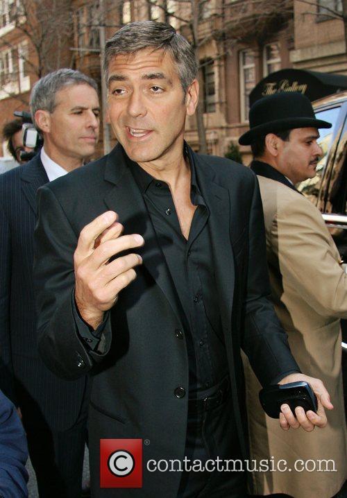 George Clooney leaving his Manhattan hotel New York...