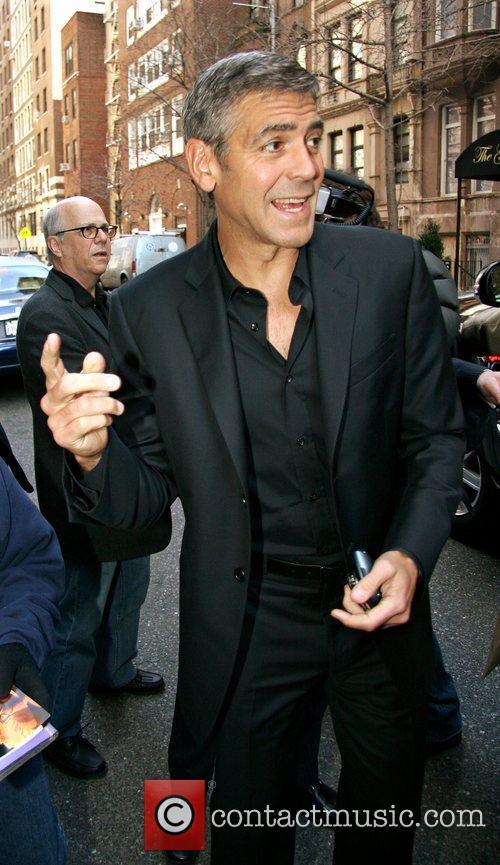 George Clooney leaving his Manhattan hotel