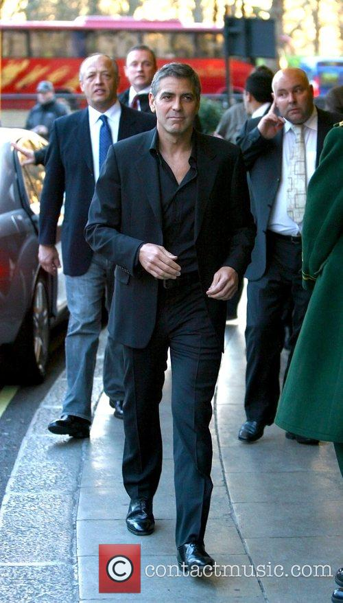 George Clooney leaving the Dorchester Hotel  London,...