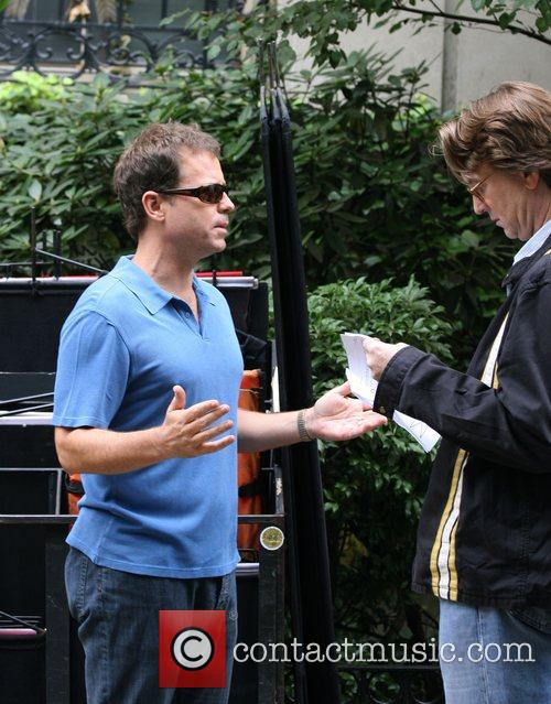 Greg Kinnear and director David Koepp filming on...