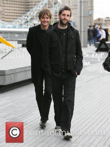 Tom Chaplin and Richard Hughes of Keane arrive...
