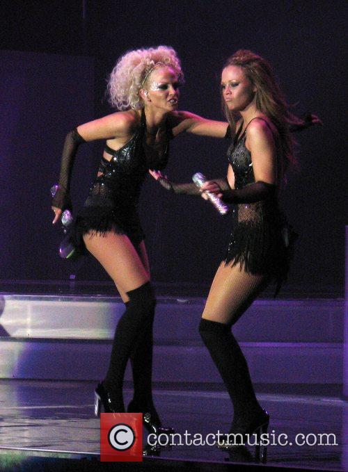 Girls Aloud Sarah Harding and Kimberley Walsh Live...