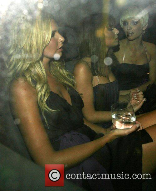 Nadine Coyle, Cheryl Cole and Sarah Harding leaving...