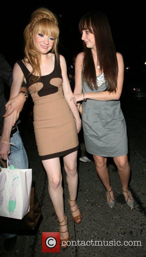 Nicola Roberts leaving her 21st birthday party held...