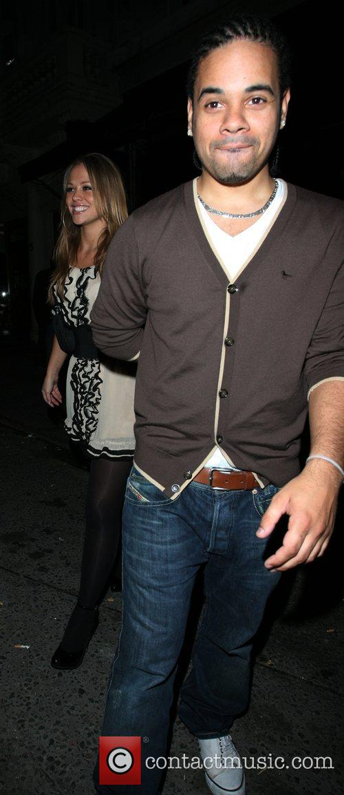 Kimberley Walsh and her boyfriend Justin Scott, leaving...