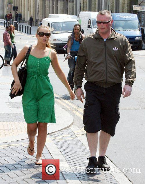 Girls Aloud member Kimbereley Walsh leaving her hotel