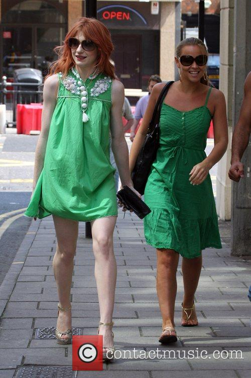 Nicola Roberts and Kimberley Walsh leaving her hotel...