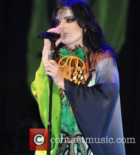Bjork performing at the 2007 Glastonbury Festival at...