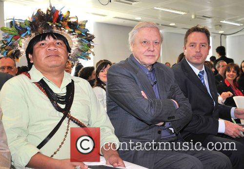 David Attenborough and Chief Almir Surui The launch...