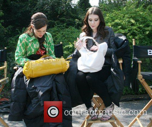 Leighton Meester and Michelle Trachtenberg on the set...