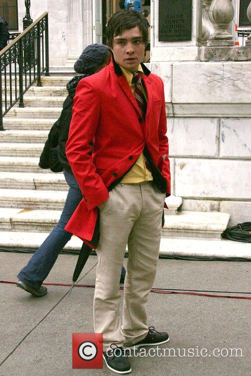 Ed Westwick on the film set for 'Gossip...