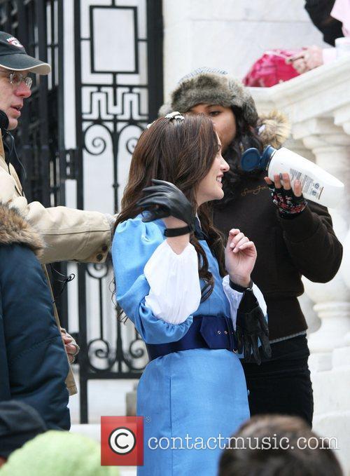 Leighton Meester on the set of 'Gossip Girl'...