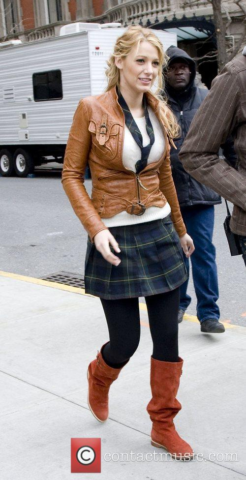 Blake Lively at the film set for CW's...