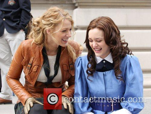 Blake Lively, Leighton Meester at the film set...