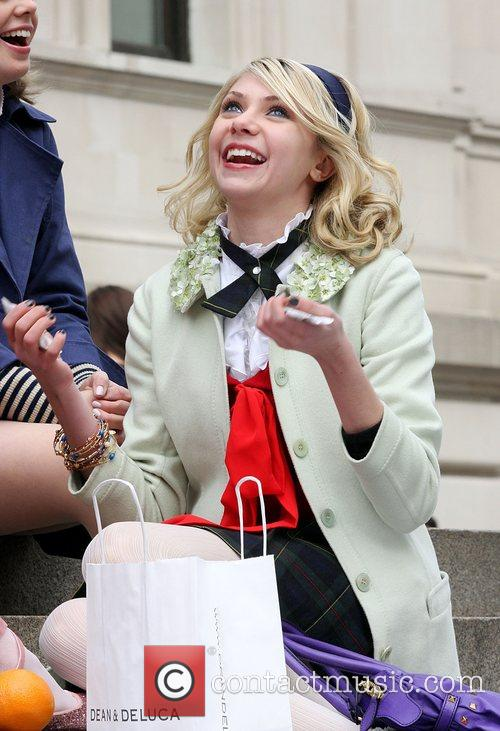 Taylor Momsen at the film set for CW's...