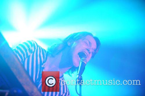 Usher, of the Essex indie band 'Magistrates' performs...