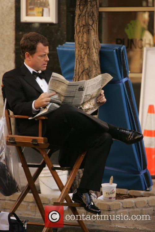Greg Kinnear during a break from filming his...