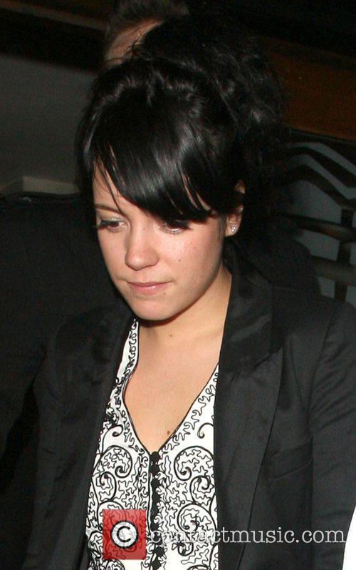 Lily Allen leaving Groucho private members club.