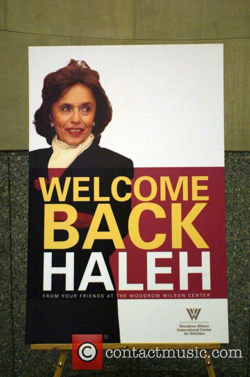 A welcome back poster for Dr. Haleh Esfandiari,...