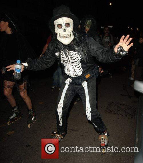 Halloween revellers dressed as ghosts, skeletons and gouls