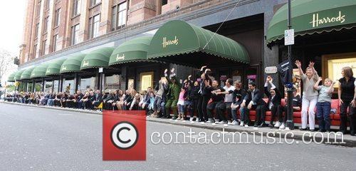 The worlds longest sofa is presented at Harrods...