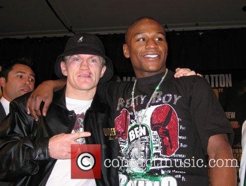 Ricky Hatton and Floyd Mayweather at the press...