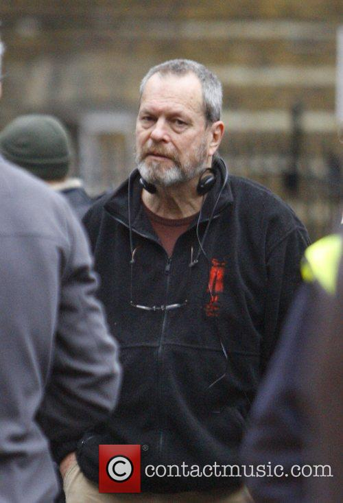 Director Terry Gilliam on the set of his...