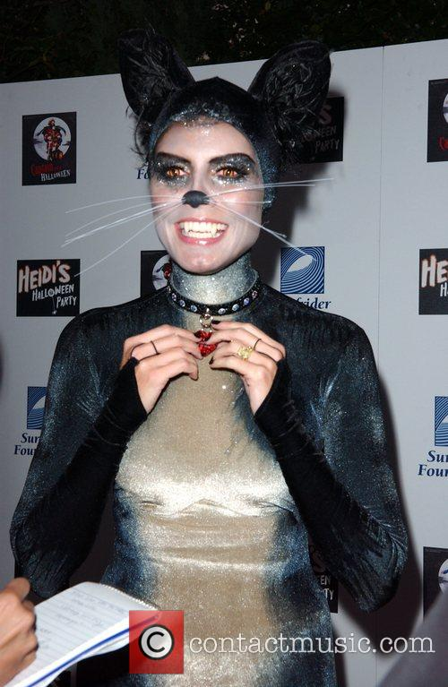 Dressed as a cat for her halloween party