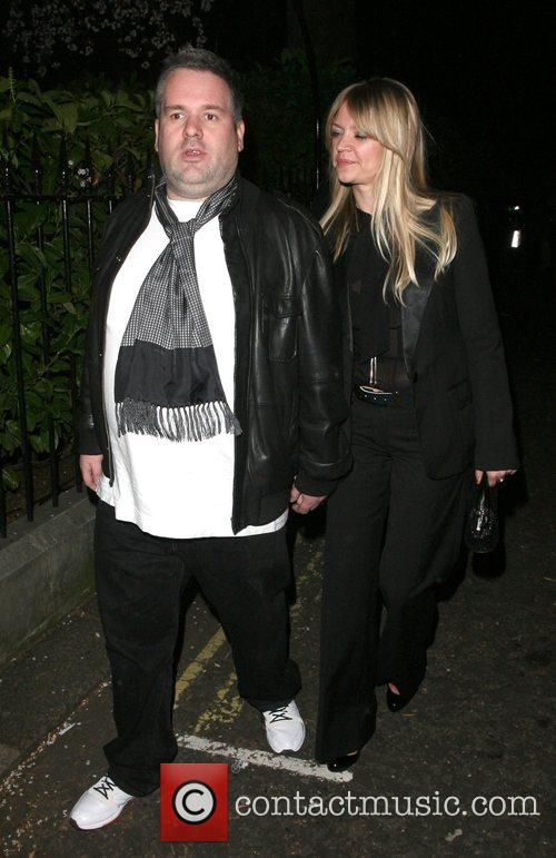 Chris Moyles and his girlfriend leaving the Universal...
