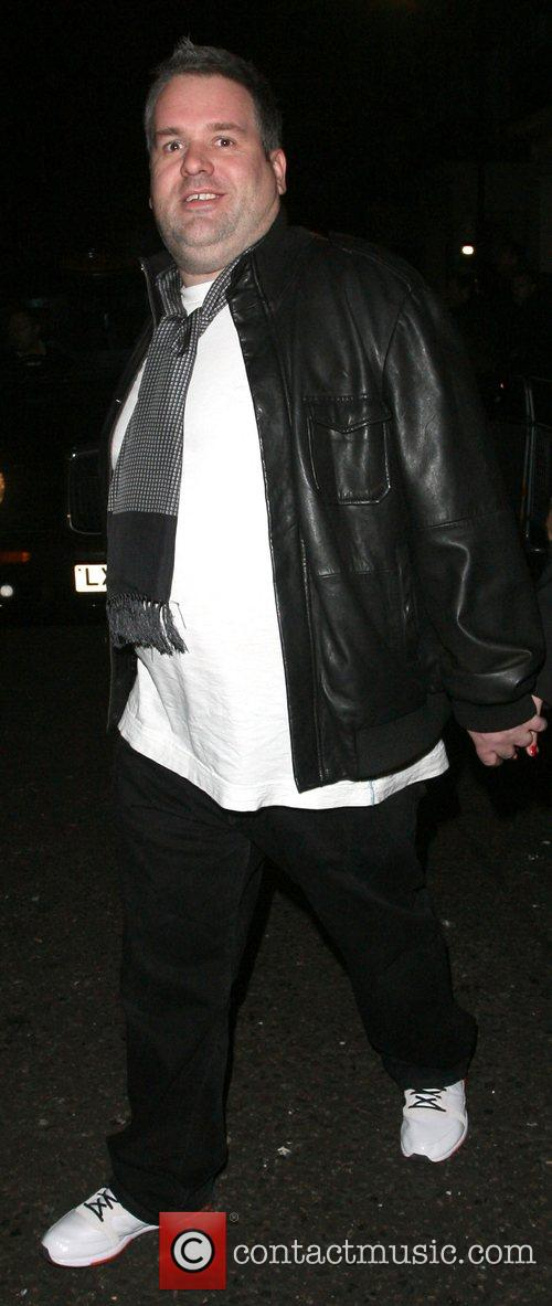 Chris Moyles leaving the Universal records afterparty for...