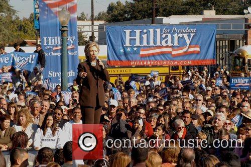 Presidential hopeful Hillary Clinton holds a press rally...