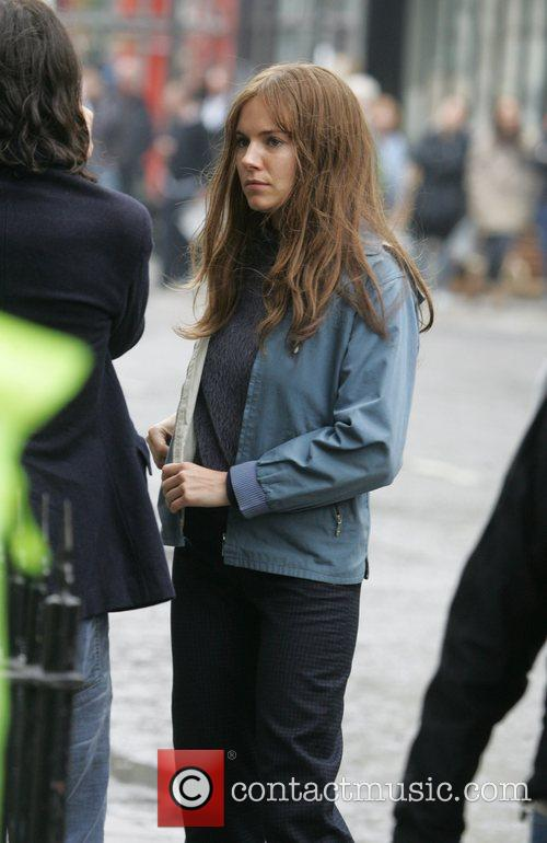 Sienna Miller on location filming the 60's inspired...