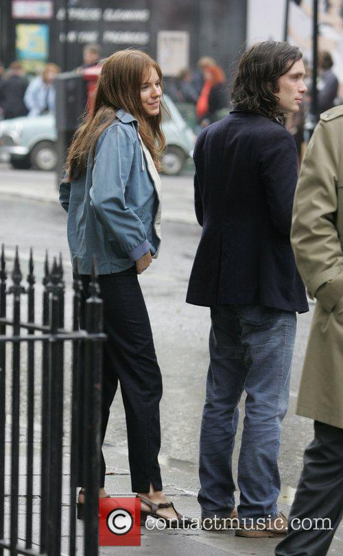Sienna Miller and Cillian Murphy on location filming...