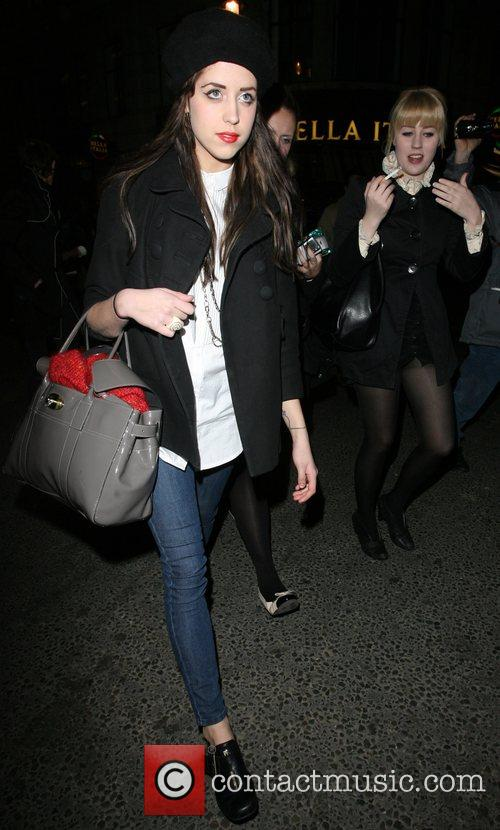 Peaches Geldof and her friend, leaving the launch...