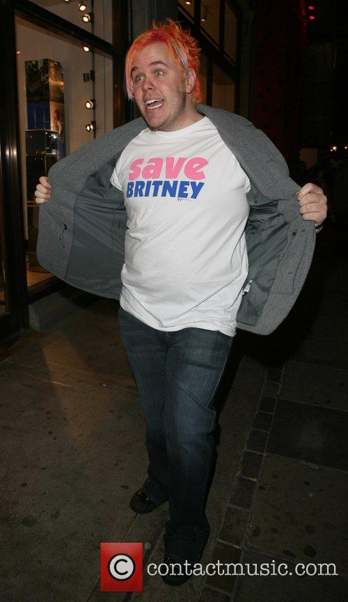 Perez Hilton wearing a Save Britney T-Shirt leaving...