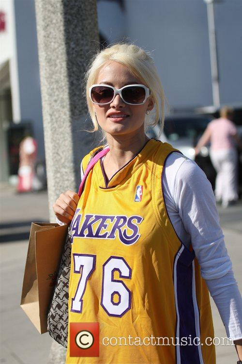 Holly Madison shows her team pride by wearing...