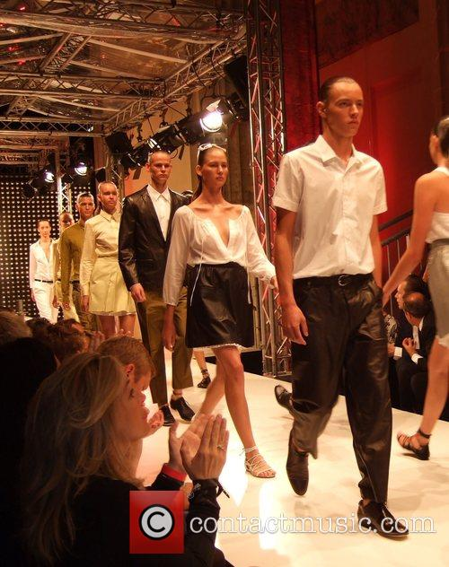 Models Hugo Boss fashion show at the opening...